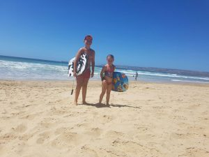 Andre & Marelize surfing